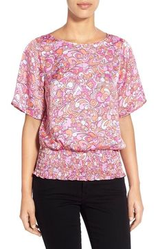 Nice shape with smocked waist  MICHAEL Michael Kors 'Tilford' Print Smocked Waist Top available at #Nordstrom