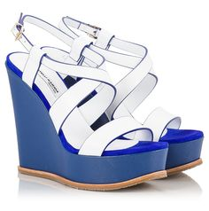 5f1a79b942c0 Fratelli Karida Strappy wedge sandals in white vachetta leather upper and  blue texture leather covered high wedge heel.