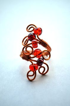 Handcrafted Spiral Copper Ring with Glass Beading by SpearCraft, $7.00
