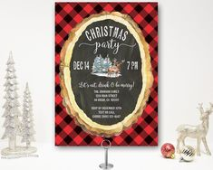 Rustic Christmas Party Invitation | deer, trees, chalkboard, buffalo plaid, flannel, Holiday Party Invite, Rustic, Printable, Printed Christmas Dinner Invitation, Christmas Party Invitations, Dinner Invitations, Digital Invitations, Birthday Party Invitations, Christmas Cocktail Party, Christmas Cocktails, Holiday Parties, Christmas Open House