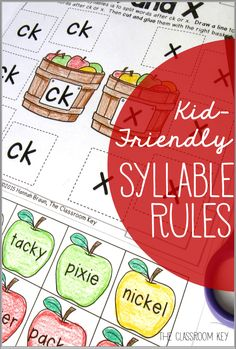 Kid-Friendly Syllable Rules ($) Fun practice of rules that can actually help kids break apart and decode long words, 20 practice activities and an anchor chart