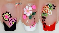 French Tip Nail Designs, Nail Art Designs Videos, Flower Nail Designs, French Tip Nails, Colorful Nail Designs, Flower Nail Art, Cute Nail Designs, French Tips, Pedicure Nail Art