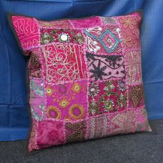 "16"" INDIAN CUSHION PILLOW COVER THROW Ethnic Vintage Embroidered Handmade Art #Unbranded #Ethnic"