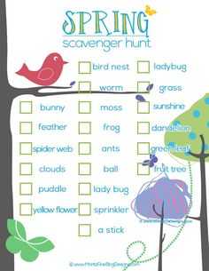 Spring Scavenger Hunt for kids! Free to print, great to get the kids outside on a beautiful spring day!