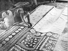 This photograph was taken in the renowned masi-making island of Vatulele, southwestern Fiji, on the occasion of a visit to the island by Ratu Sir Lala Sukuna in 1949. He was accompanied by Rob Wright, official government photographer, who photographed 16-year old Salote Sagosago printing a ritual barkcloth taunamu.