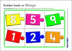 A set of bingo boards and matching cards with number bonds to 10 on jigsaw pieces. The jigsaws do not match by colour to encourage children to focus on the number bonds themselves. Dinosaur Activities, Number Activities, Math Games, Classroom Activities, Number Bonds To 20, Partner Cards, Bingo Board, Early Math, Matching Cards