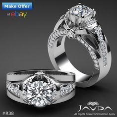 Round Cut Diamond Pave Set Heavy Engagement Ring GIA I VS2 14k White Gold 1.9 ct