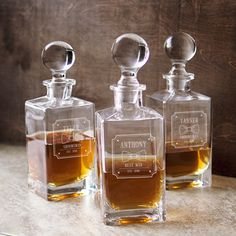 Give a little more to your groomsmen with a gift that keeps on giving! Our Personalized Groomsmen Decanter with Bowtie Design will be a hit among all.