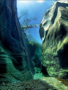 Shot from the bottom of the Verzasca River, Switzerland. Known for it's beautiful crystal clear waters.