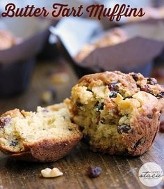 Butter Tart Muffins - a delicious twist on a classic Canadian dessert! Healthy Bread Recipes, Baking Recipes, Scone Recipes, Healthy Muffins, No Bake Desserts, Delicious Desserts, Dessert Recipes, Butter Tarts, Baking Muffins