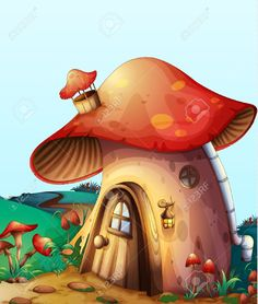 Illustration Of Red Mushroom House On A Blue Background Royalty Free Cliparts, Vectors, And Stock Illustration. Pic 14411874.