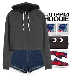 """""""Cropped Hoodie"""" by holunderbluete ❤ liked on Polyvore featuring NIKE, Zara, Polaroid, Anya Hindmarch and CroppedHoodie"""