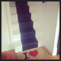 Stairs with a painted runner. Annie Sloan Chalk Paint™ graphite