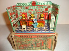 1930'S HOME TOWN GROCERY STORE TIN LITHO WITH BOX BY MARX, USA