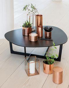 Kupari copper vase black table candle holder flower pot