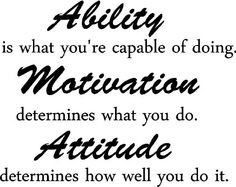 Ability is what you're capable of doing. Motivation determines what you do. Attitude determines how well you do it inspirational wall quotes...