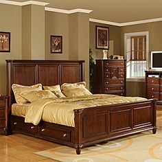 @Overstock - Material: Kiln dried solid poplar and birch veneers  Finish: Brown cherry finish  Heavily crowned and beveled for a traditional look  http://www.overstock.com/Home-Garden/Hawthorne-King-Bed-with-4-drawers/6325546/product.html?CID=214117 $1,277.99