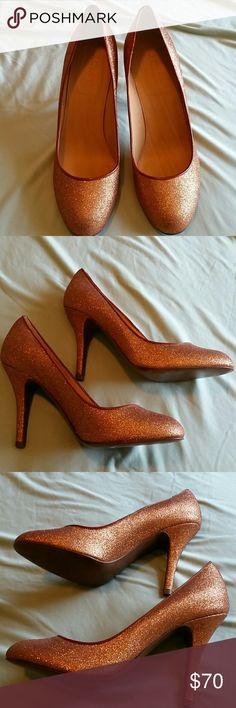 "J.Crew Mona Bronze Sparkle Heel Size 7 These are gorgeous! Very light wear. 4"" heel. J. Crew Shoes Heels"