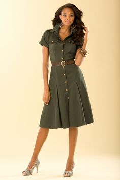 Belted Safari Dress, Metrostyle