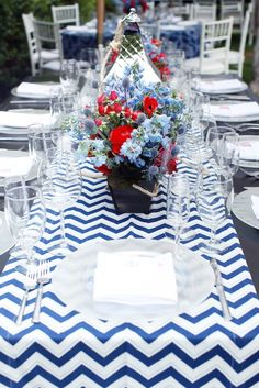 Floral idea for nautical baby shower