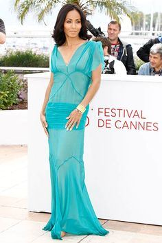 Jada Pinkett Smith wears a sheer design at the Madagascar Europe's Most Wanted photocall during the Annual Cannes Film Festival at Palais des Festivals on May 2012 in Cannes, France. Jada Pinkett Smith, Palais Des Festivals, Alberta Ferretti, Celebs, Celebrities, Cannes Film Festival, Festival Fashion, Fashion Photo, Blue Dresses