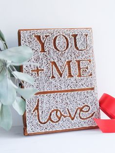 Valentines day string art wall decor, you + me wall decoration, valentines day gift for him or her, simple but sweet wedding gift by GoodLights on Etsy https://www.etsy.com/listing/571716688/valentines-day-string-art-wall-decor-you