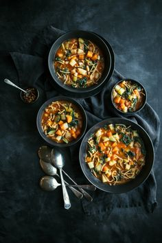 Vegan minestrone soup with vegetables, beans & wholemeal spaghetti. Moody / dark / food photography / food styling / flat lay
