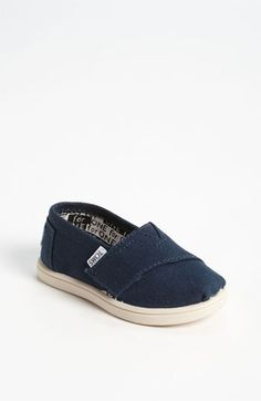 TOMS 'Classic - Tiny' Slip-On (Baby, Walker & Toddler) available at #Nordstrom. If I could justify spending $30+ on toddler shoes, he would totally have these! Too cute.