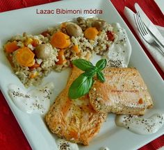 Lazac Bibimoni módra Fish Dishes, Fish Recipes, Food And Drink, Healthy Eating, Cooking Recipes, Chicken, Meat, Foods, Drinks