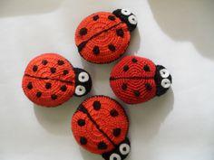 Mariquitas ladybugs crochet ganchillo broches