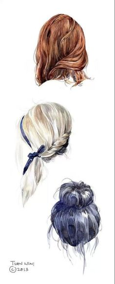 how to draw hair using watercolor.