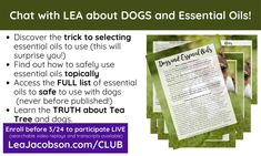 Safely using essential oils with #dogs Essential Oil Safety, Essential Oils, Need To Know, Aromatherapy, Essentials, Club, Education, Dogs, Pet Dogs