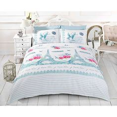 french shabby chic paris duvet cover white pink teal blue bedding bed set blue shabby chic bedding