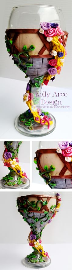 Disney's Tangled inspired wine glass! Exquisitely hand decorated with polymer clay, this would make a great birthday gift!
