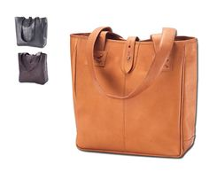 """Vachetta Small Tote  This roomy shopper tote is made from genuine leather. Features include:   Fully lined interior with zipper pocket   Tab closure   Extra wide double shoulder straps with 12"""" drop.  Size: 12""""L x 4""""W x 12""""H  www.theelegantoffice.com"""