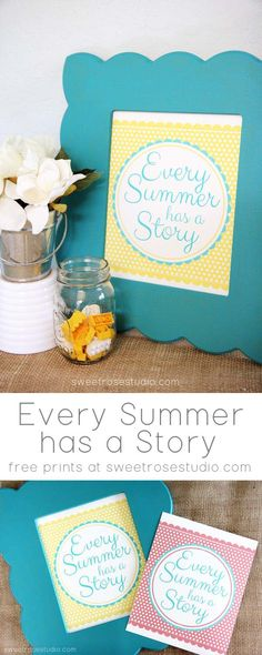 Every Summer has a Story :: Free Print available in two different colors from Sweet Rose Studio