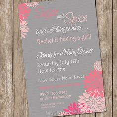 Flower Sugar And Spice Girl Baby Shower By ModernBeautiful On Etsy, $13.00