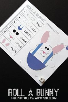 Free Printable Roll-a-Bunny Children's Activity. Fun Easter game for kids!