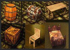 Fantasy RPG Furniture Free Papercrafts Download