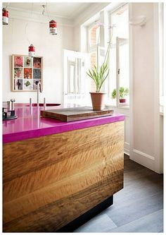 pink concrete counter top - I would choose a different color, but I love this!