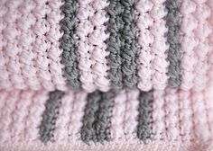 Bobbles and Stripes Crochet Baby Blanket Pattern | Caution: extreme snuggling is a side effect of this incredibly soft easy crochet baby blanket.