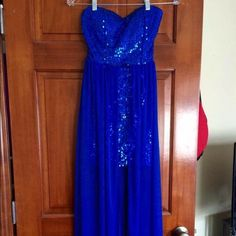 Strapless Royal Blue Dress This was my homecoming dress for my senior year and it has only been worn once! I bought it from buckle, and it is in great condition. So cute on! BKE Dresses Maxi