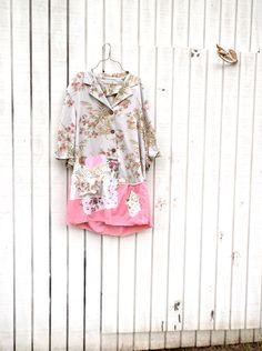 large  plus  Romantic  / Upcycled Linen clothing / by CreoleSha, $105.00