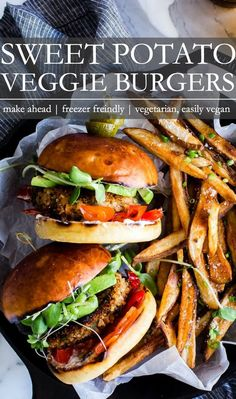 Flavor packed with good for your ingredients, Sweet Potato Burgers are easy to make, freezer friendly and at the ready for meal prep! vegetarian or vegan Sweet Potato Veggie Burger, Veggie Burgers, Veggie Patties, Autumn Recipes Vegetarian, Healthy Recipes, Protein Recipes, Healthy Protein, Bean Recipes, Burger Recipes