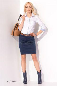 Fusta dama Kira Denim Skirt, Leather Skirt, Waist Skirt, High Waisted Skirt, Stretches, Skirts, Fashion, Fashion Ideas, Cotton