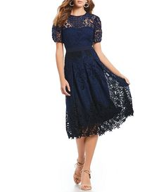 c724090de25 Antonio Melani Illusion Lace Puff Cap Sleeve Kali Midi Dress Antonio Melani
