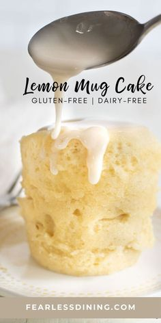 A delicious gluten free lemon mug cake recipe. You will love that this lemon microwave cake is ready in just 3 minutes! Top with lemonade icing drizzled on top or eat plain. Gluten Free Mug Cake, Gluten Free Sweets, Gluten Free Baking, Dairy Free Lemon Cake, Dairy Free Icing, Gluten Free Vanilla Cake, Mug Recipes, Lemon Recipes, Baking Recipes