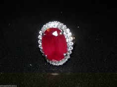 Ruby & White Sapphire Ring--Sterling Silver-- SZ. 8~ Reduced Price! #AimeesTreasures #SolitairewithAccents