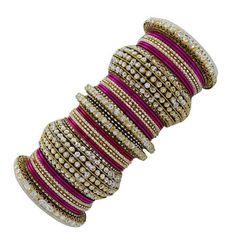 Magenta / Fushia / Dark Pink and Gold Gorgeous Indian Bangle Set for Brides!