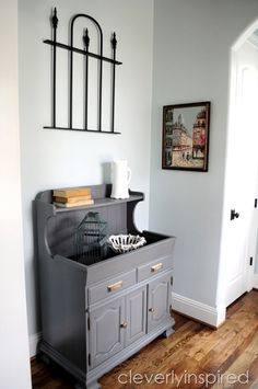 traditional foyer @cleverlyinspired (6)   I have a Dry Sink I may just paint gray!